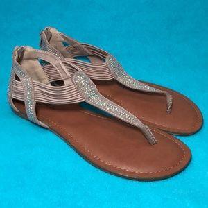 Candies-size 8, gorgeous, tan, sparkle sandals